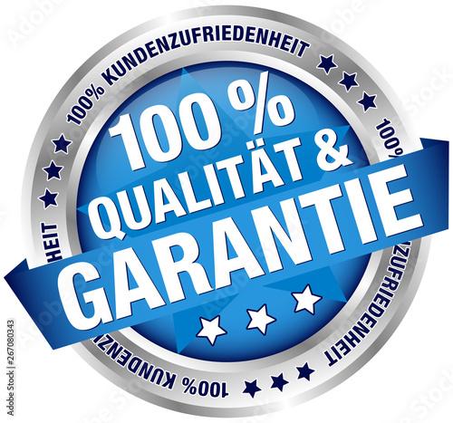 Button Banner 100% Qualität & Garantie blau/silber Wallpaper Mural