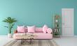 Leinwandbild Motiv Pink sofa in living room, summer color concept, 3D rendering