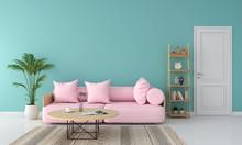Pink Sofa In Living Room, Summ...