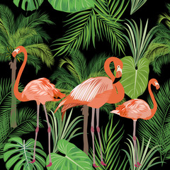 Panel Szklany Egzotyczne Tropical plant seamless pattern, pink flamingo and tropical leaves of palm tree.