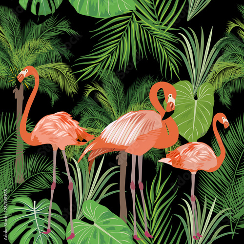 Naklejki Flamingi  tropical-plant-seamless-pattern-pink-flamingo-and-tropical-leaves-of-palm-tree