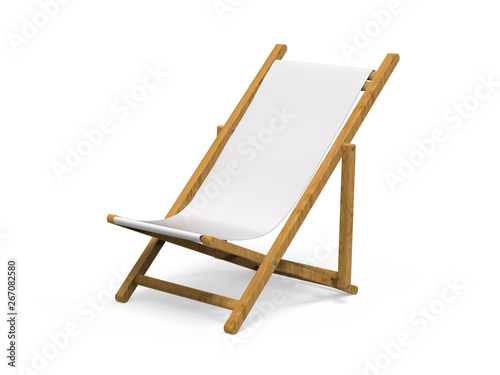 Photo Folding wooden deckchair or beach chair mock up on isolated white background, 3d