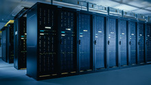 Shot Of Data Center With Multi...