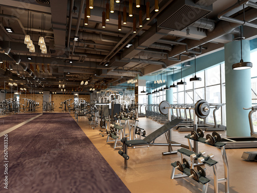 Photo sur Toile Fitness 3d render gym fitness saloon