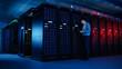 Leinwandbild Motiv In Data Center: Male IT Specialist Walks along the Row of Operational Server Racks, Uses Laptop for Maintenance. Concept for Telecommunications, Cloud Computing, Artificial Intelligence, Supercomputer