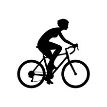 Woman Riding Bike. Isolated On White Background