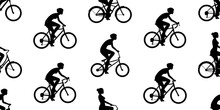 Seamless Pattern With Women Riding Bicycles. Isolated On White Background