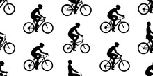 Seamless Pattern With Men Riding Bicycles. Isolated On White Background