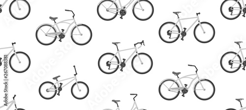 Obraz na plátně  Seamless pattern with bicycles. isolated on white background