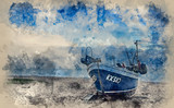 Watercolour painting of Fishing boat on beach in Hastings Sussex - 267089126