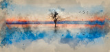 Watercolour painting of Concept fine art image of tree and birds in still waters - 267089180