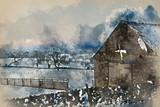 Watercolour painting of Beautiful snow covered sunrise Winter rural landscape - 267089193