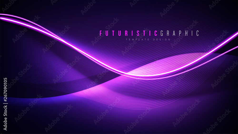 Fototapety, obrazy: An abstract background template in futuristic style.  It is suitable for being as a template, landing page in science, business or technology related theme.