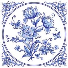 A Bouquet Of Decorative Flowers, Tiles In Blue Colors In The Dutch Style. List Delft, Gzhel, English Porcelain.