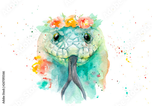 Fotografie, Obraz watercolor drawing of an animal - a snake in flowers