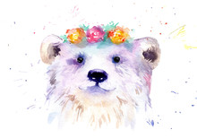 Watercolor Animal Drawing - White Bear In Flowers
