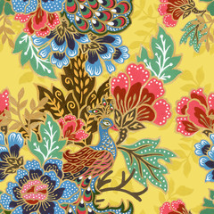 vintage seamless pattern gold outline with exotic traditional floral peacock bird pattern watercolor gouache
