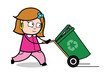 Running with Dustbin - Retro Cartoon Female Housewife Mom Vector Illustration