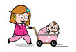 Walking with Baby Trolley - Retro Cartoon Female Housewife Mom Vector Illustration