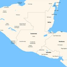 Detailed Vector Map Guatemala.