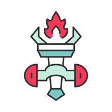 Medieval Burning Torch Color Icon
