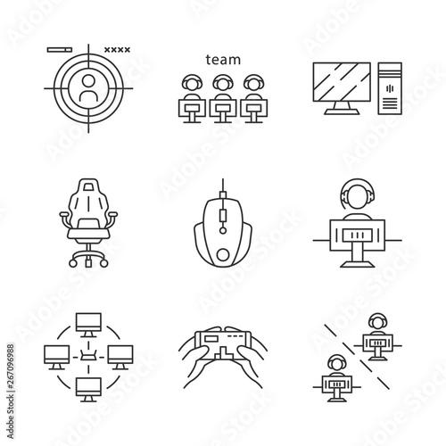 Photo  Esports linear icons set