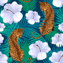 Floral Jungle Leopard Seamless Pattern.  Animal Print Pattern With Tropical Leaves And Flowers In Deep Blue Background.