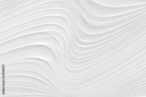 Montage in der Fensternische Abstrakte Welle White background 3 d with elements of waves in a fantastic abstract design, the texture of the lines in a modern style for wallpaper. Light gray template for wedding ceremony or business presentation.