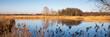 Gewässer mit trockenem Schilf, Rieselfeldern, Münster, Münsterland, Nordrhein-Westfalen, Deutschland, Europa