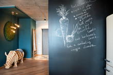 Lettering Chalkboard Wall With Recipe In The Kitchen.