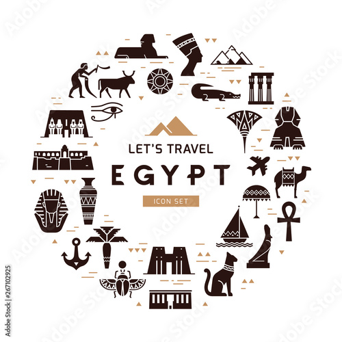 Photographie Circular design pattern of filled icons on the theme of sights and symbols of Egypt with place for text