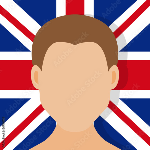 Photo  The face of a man with a flag in the background on the face of Great Britain