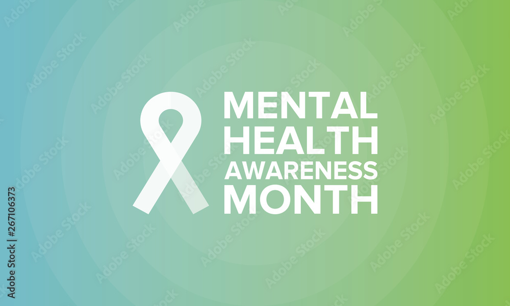 Fototapeta Mental Health Awareness Month in May. Annual campaign in United States by raising awareness of mental health. Poster, card, banner and background. Vector illustration