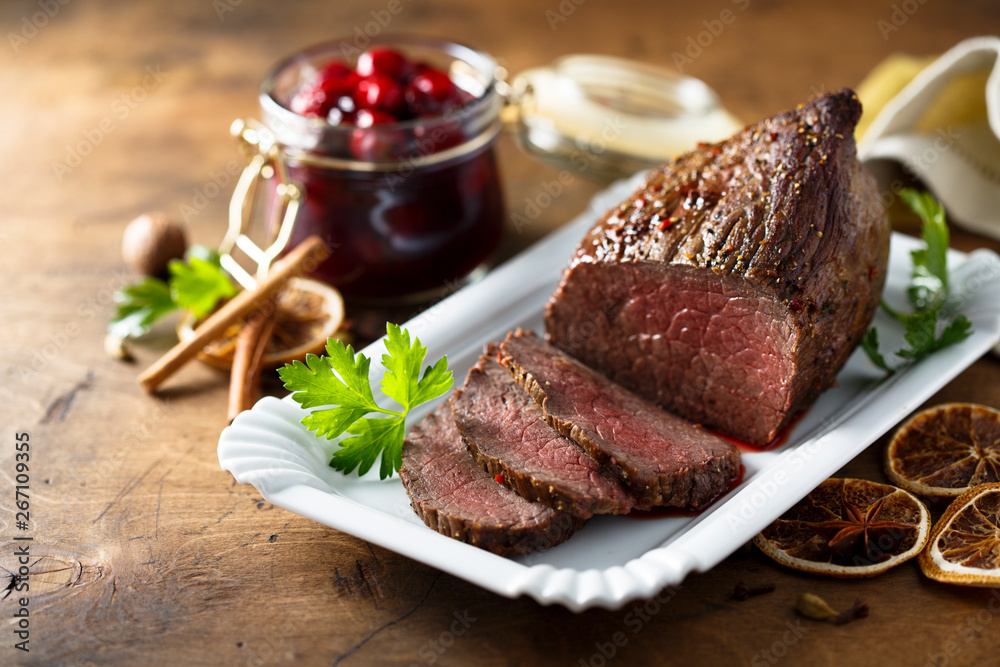 Fototapety, obrazy: Homemade roast beef with cherry sauce