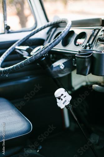 bus interior with star wars shift knob