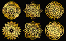 Golden Mandalas Design. Ethnic Round Gradient Ornament. Hand Drawn Indian Motif. Mehendi Meditation Yoga Henna Theme. Unique Floral Print.