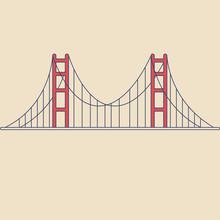 Vector Golden Gate Bridge In Modern Flat Style On Light Background. Poster With Golden Gate Bridge