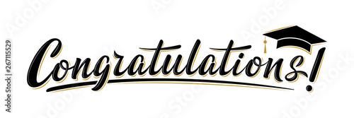 Fényképezés Congratulations! greeting sign for graduation party in university, school, academy