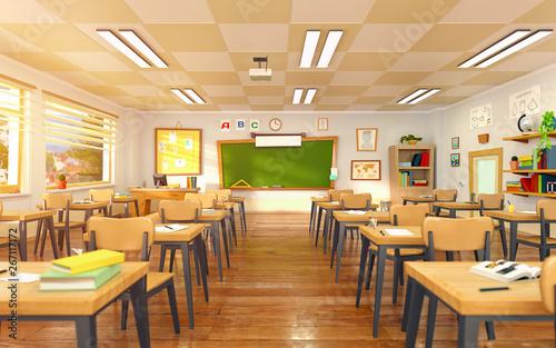 Fotografía  Empty school classroom in cartoon style