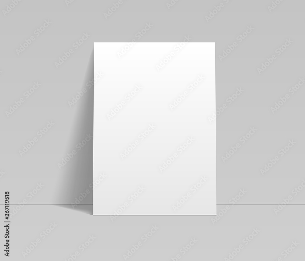 Fototapeta Blank white sheet of paper leaning at the wall template, vector mockup