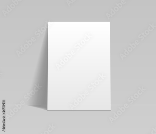 Fotomural  Blank white sheet of paper leaning at the wall template, vector mockup