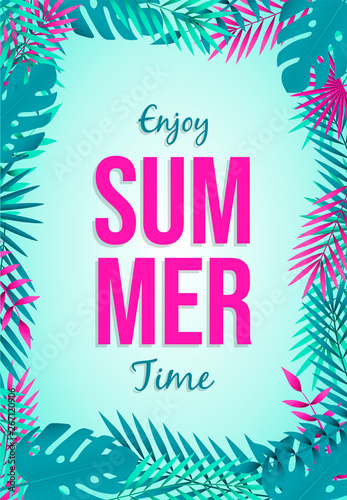 Fototapety, obrazy: holiday Summer card of tropical leaves and quote