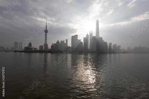 Shanghai Bund Skyline am Morgen Canvas Print