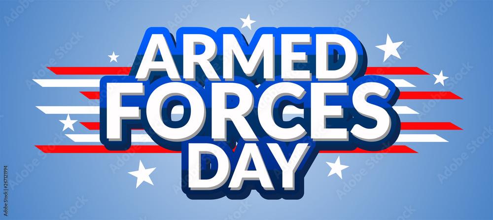 Fototapeta Armed forces day template poster design. Vector illustration of background for Armed forces day.Illustration of Armed forces day of USA. - Vector