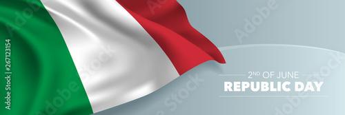 Obraz na płótnie Italy happy republic day vector banner, greeting card