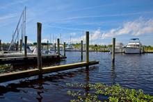 Boats Moored In A Marina In Ba...
