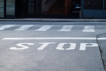 Written Stop Sign On Street,on...