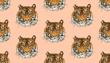 Tiger Head Vector Seamless Pat...