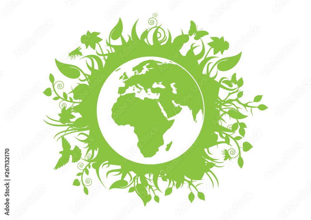 Fototapeta Green eco planet Earth vector. Green planet earth isolated on a white background. Planet Earth with fauna and flora vector. Environmental concept with eco planet earth