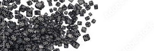 Photo  Exploding black discount cubes with percent symbols